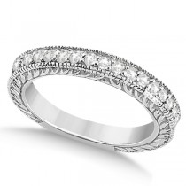 Vintage Style Filigree Diamond Wedding Band 14k White Gold (0.19ct)