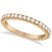 Round Diamond Eternity Wedding Ring 18K Rose Gold Diamond Band (0.58ct) Size 4.5
