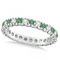 Diamond & Emerald Pave Eternity Wedding Band 14k White Gold (0.45ct) Size 4.5
