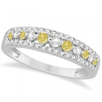 Fancy Yellow Canary & White Diamond Ring Band 14k White Gold (0.50ct) Size 6.5