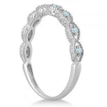 Antique Marquise Shape Aquamarine Wedding Ring 14k White Gold (0.18ct)