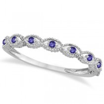 Antique Marquise Shape Tanzanite Wedding Ring 14k White Gold (0.18ct) size 7