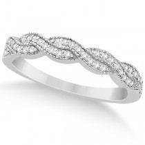 Diamond Infinity Semi Eternity Wedding Band  18k White Gold (0.30ct)
