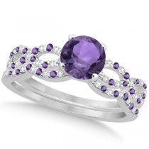 Diamond & Amethyst Infinity Style Bridal Set 14k White Gold 1.94ct