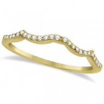 Contour Diamond Accented Wedding Band 14K Yellow Gold (0.13ct)