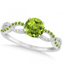 Infinity Diamond & Peridot Gemstone Engagement Ring Platinum (0.21ct)