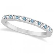 Aquamarine & Diamond Wedding Band Platinum 0.29ct