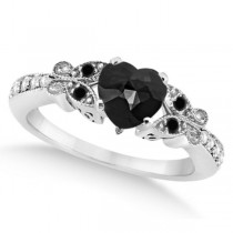Butterfly Black & White Diamond Heart Engagement Ring 14K W Gold 1.3ct