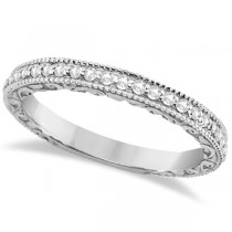 Milgrain & Filigree Diamond Wedding Band 14kt White Gold (0.20ct.)