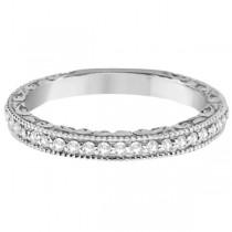 Milgrain & Filigree Diamond Wedding Band 14kt White Gold (0.20ct.)