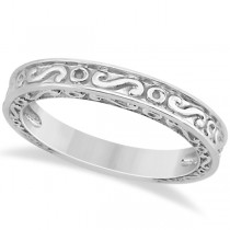 Hand-Carved Infinity Design Filigree Wedding Band in 14k White Gold