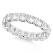 Bar-Set Princess Cut Diamond Eternity Ring Band 18k White Gold (1.15ct) Size 7.75
