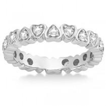 Pave Set Heart Shaped Diamond Eternity Ring 14k White Gold (0.60ct)
