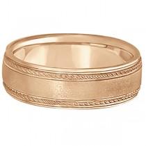 Matt Finish Men's Wedding Ring Milgrain 14k Rose Gold (7mm) Size 5.5