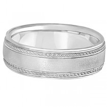 Matt Finish Men's Wedding Ring Milgrain 14k White Gold (7mm)