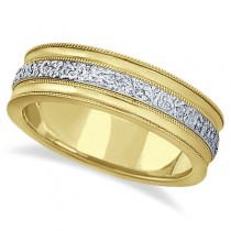 Carved Men's Wedding Ring Diamond Cut Band 18k Two Tone Gold (7 mm) Size 9