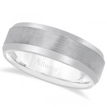 Comfort-Fit Carved Wedding Band in Platinum (7mm)