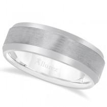Comfort-Fit Carved Wedding Band in Platinum (7mm)
