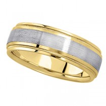 Carved Two-Tone Wedding Band in 18k White & Yellow Gold (7mm) Size 8.75