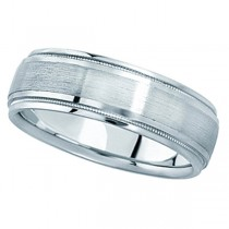 Carved Wedding Band in Palladium For Men (7mm) Size 10.5