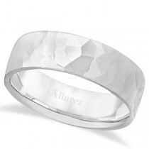 Men's Hammered Finished Carved Band Wedding Ring 14k White Gold (7mm)