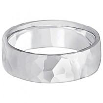 Men's Hammered Finished Carved Band Wedding Ring 18k White Gold (7mm) Size 11.5