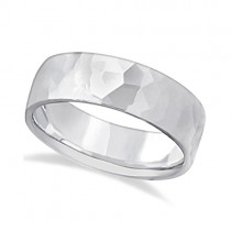 Men's Hammered Finished Carved Band Wedding Ring 18k White Gold (7mm) Size 11