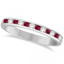 Ruby & Diamond Semi-Eternity Channel Ring 14k White Gold (0.40ct) Size 3.5