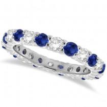 Blue Sapphire & Diamond Eternity Ring Band 14k White Gold (1.07ct) | SIZE 6