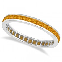 Princess-Cut Citrine Eternity Ring Band 14k White Gold (1.36ct)