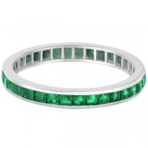 Princess-Cut Emerald Eternity Ring Band 14k White Gold (1.36ct) Size 5