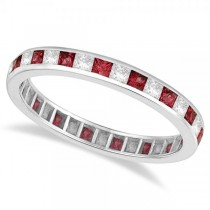 Princess-Cut Garnet & Diamond Eternity Ring 14k White Gold (1.26ct) Size 5