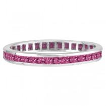 Princess-Cut Pink Sapphire Eternity Ring Band 14k White Gold (1.36ct) size 5.5