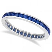 Princess-Cut Blue Sapphire Eternity Ring Band 14k White Gold (1.36ct)  size 5