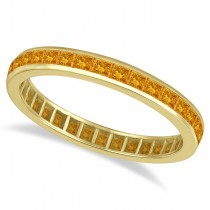 Princess-Cut Citrine Eternity Ring Band 14k Yellow Gold (1.36ct)