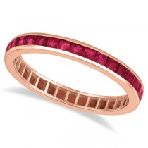 Princess-Cut Ruby Eternity Ring Band 14k Rose Gold (1.20ct) Size 8.5