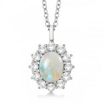 Oval Shape Opal & Diamond Pendant Necklace 14k White Gold (3.60ctw)