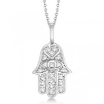 Diamond Hamsa Pendant Necklace 18k White Gold (0.16ct)