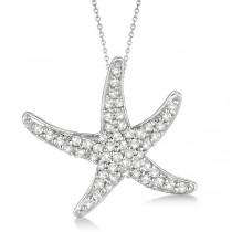Diamond Starfish Pendant Necklace 14k White Gold (0.55ct)