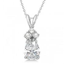 Pear Moissanite & Diamonds Solitaire Pendant 14k White Gold (0.75ct)