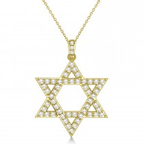 Diamond Jewish Star of David Pendant Necklace 14k Yellow Gold (1.05ct)