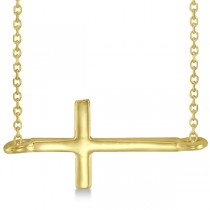 Sideways Cross Necklace Religious Plain Metal 14K Yellow Gold