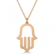 Hamsa Amulet Necklace Plain Metal Pendant 14K Rose Gold