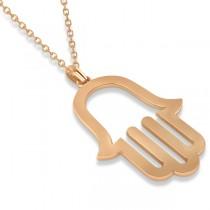 Hamsa Amulet Necklace Plain Metal Pendant 14K Rose Gold|escape