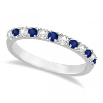 Diamond and Blue Sapphire Ring Anniversary Band 14k White Gold (0.32ct)#5.75
