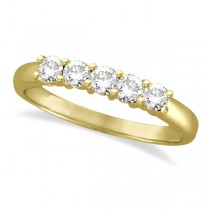 Five Stone Diamond Ring Anniversary Band 14k Yellow Gold (0.50ctw) size 6.5