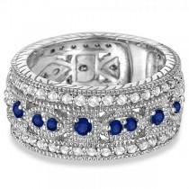 Vintage Byzantine Diamond & Blue Sapphire Ring 14k White Gold (1.37ct)|escape