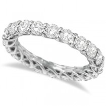 Luxury Diamond Eternity Anniversary Ring Band 14k White Gold (3.50ct) SIZE 6.5