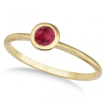 Ruby Bezel-Set Solitaire Ring in 14k Yellow Gold (0.65ct)