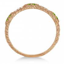 Vintage Stacking Diamond & Peridot Ring Band 14k Rose Gold (0.15ct)